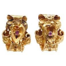 14k Gold Art Nouveau Ruby Stud Earrings