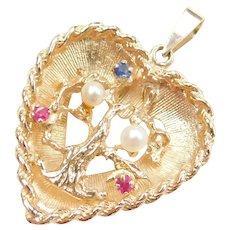 Vintage 14k Gold Gemstone Tree Heart Charm