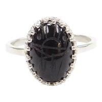 Bohemian Carved Onyx Scarab Ring Sterling Silver