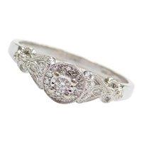 .24 ctw Diamond Illusion Halo Engagement Ring 10k White Gold