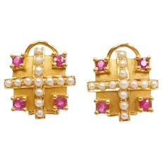 22k Gold Seed Pearl and Ruby Earrings