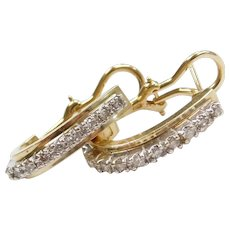 .44 ctw Diamond Hoop Earrings with Omega Backs