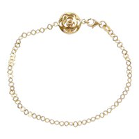 "7 1/2"" 18k Gold Flower Circle Puff Charm"