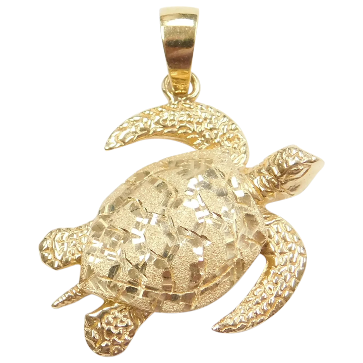 Details about  /Choice of White or Yellow 14K  gold Turtle Charm Pendant