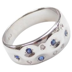 .15 ctw Natural Sapphire and Diamond Ring 14k White Gold