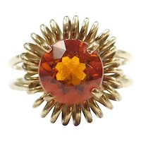 Retro 2.16 Carat Golden Citrine Ring 14k Gold