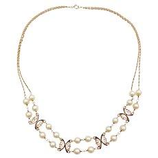 1940's Vintage Necklace 14k Gold Cultured Pearl Cobalt Blue Enamel Accent