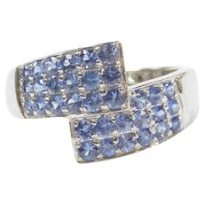 1.04 ctw Cornflower Blue Sapphire Bypass Ring 14k White Gold