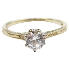 1/2 Carat White Sapphire Edwardian Solitaire Engagement Ring 14k Gold