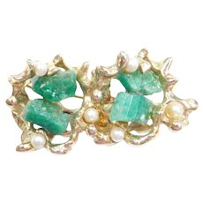 Natural Raw Emerald and Cultured Pearl 14k Gold Pin / Brooch