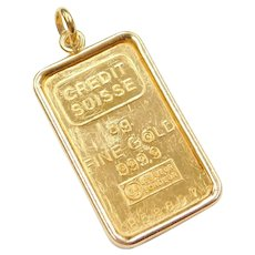 5 Gram Credit Suisse Fine Gold Bar Pendant / Charm with 18k Bezel
