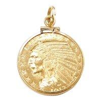 1913 $5 Gold Indian Head Half Eagle Coin Pendant / Charm