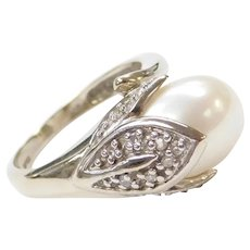 14k White Gold Cultured Pearl and Diamond Tulip Bypass Ring
