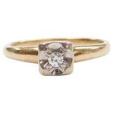 Sweet 1940's .04 Carat Diamond Illusion Set Engagement Ring 14k Gold