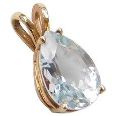 1.85 Carat Pear Cut Aquamarine Pendant 14k Gold