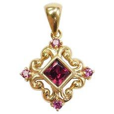 14k Gold .66 ctw Rhodolite Garnet and Pink Tourmaline Ornate Pendant