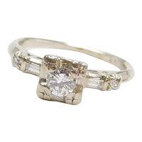 1930-40's .32 ctw Diamond Engagement Ring  14k White Gold