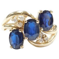 2.45 ctw Natural Sapphire and Diamond Ring 14k Gold