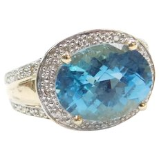 6.10 ctw Blue Topaz and Diamond Halo Ring 14k Gold Two-Tone