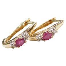 .46 ctw Natural Ruby and Diamond Hoop Earrings 10k Gold