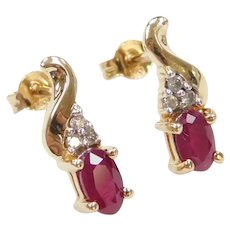 10k Gold .76 ctw Ruby and Diamond Stud Earrings