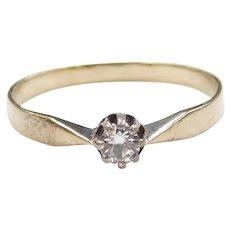 Edwardian 9k Gold .12 Carat White Spinel Ring