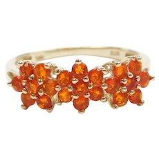 1.26 ctw Spessartite (Orange Garnet) Triple Flower Cluster Ring 10k Gold
