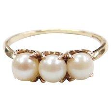 Edwardian Triple Cultured Pearl Ring 10k Gold