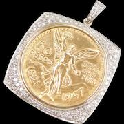 Pure 24k Fine Gold 50 Pesos Coin Pendant 2.28 ctw Diamond Bezel ~ One of a Kind