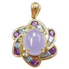 4.16 ctw Lavender Jade, Amethyst, Blue Topaz and Peridot Pendant 14k Gold