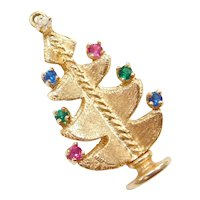 Large Colorful Gemstone Christmas Tree Charm 14k Gold