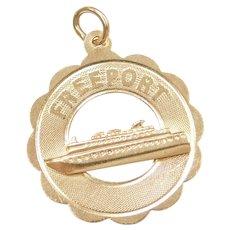14k Gold Freeport Cruise Ship Charm