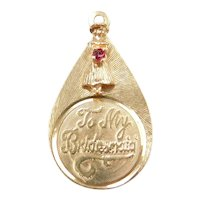 """To My Bridesmaid"" 14k Gold Charm with Red Glass"