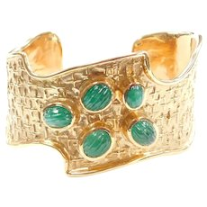 Impressive Wide Carved Natural Emerald Cuff Bracelet 14k Gold