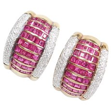 5.94 ctw Ruby and Diamond Earrings 18k Yellow and White Gold