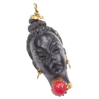 Italian 18k Gold African Female Ebony Carved Blackamoor Pendant with Red Coral Accent