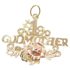14k Gold #1 Godmother Charm with Rose Gold Flower Detail