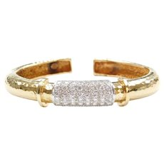 18k Gold 1.44 ctw Diamond Hammered Cuff Bracelet