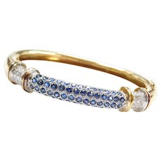 3.40 ctw Sapphire and Diamond Hinged Bangle Bracelet 18k Gold Two-Tone