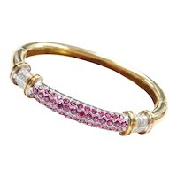 3.40 ctw Ruby and Diamond Hinged Bangle Bracelet 18k Gold Two-Tone