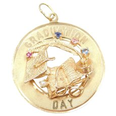 14k Gold Graduation Day Charm with Cap, Feather Pen, Book and Glasses ~ Gemstones