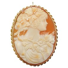 Large Vintage 14k Gold Carved Shell Cameo Pendant / Pin