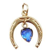 14k Gold Blue Glass Horseshoe Charm