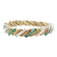 "7"" 10.56 ctw Natural Emerald and Diamond Bracelet 18k Gold and Platinum"