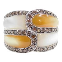 14k White Gold White and Yellow Mother Of Pearl and Chocolate Diamond Ring
