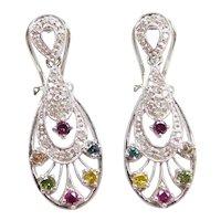 .60 ctw Colorful Diamond Earrings 10k White Gold with Omega Backs