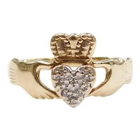 10k Gold Diamond Claddagh Ring ~ Love, Loyalty and Friendship