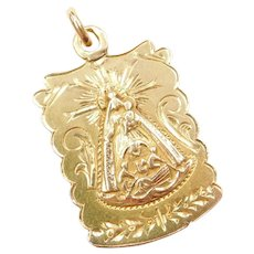 Our lady of Charity and Saint Barbara Religious Charm 14k Gold