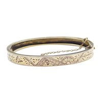 "Edwardian 6 1/4"" 10k Gold Etched Flower and Butterfly Cuff Bracelet"