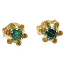 14k Gold Bright Green Quartz Flower Buttercup Stud Earrings
